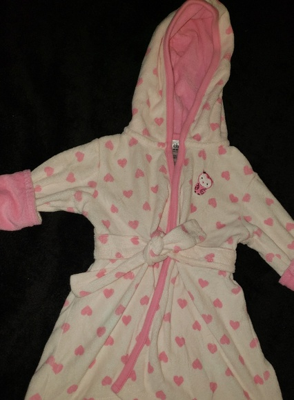 carters Child Of Mine Pink Heart Polka Dots Hooded Bath Robe One Size infant